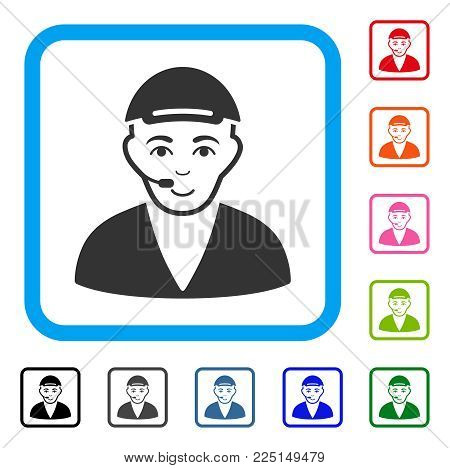 Happiness Call Center Operator vector icon. Human face has enjoy mood. Black, gray, green, blue, red, pink color additional versions of call center operator symbol inside a rounded rectangular frame.
