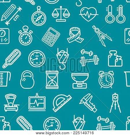 Measurement Signs Seamless Pattern Background on a Blue Instruments and Tools for Measure Service Design. Vector illustration
