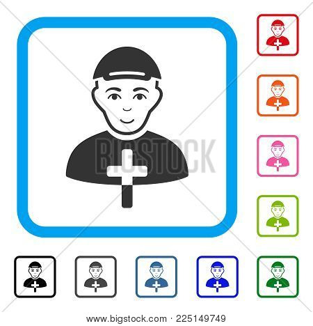 Glad Christian Monk vector pictogram. Human face has joy sentiment. Black, grey, green, blue, red, pink color additional versions of christian monk symbol inside a rounded square.