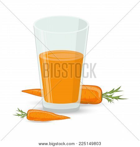 glass of carrot juice and fresh carrots on white background. stock vector