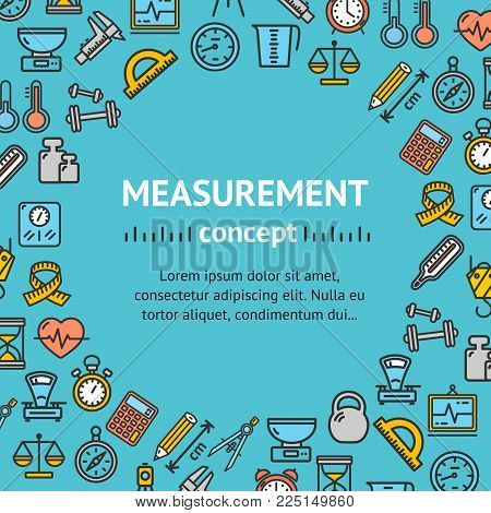 Measurement Signs Round Design Template Line Icon Frame Design Measuring Concept Engineering Business Service on a Blue. Vector illustration