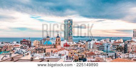 Alicante, Spain, December 31, 2017: Panoramic view of Alicante city, Costa Blanca, Spain