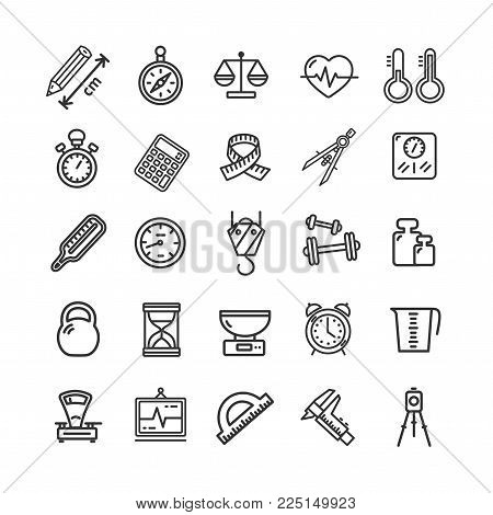 Measurement Signs Black Thin Line Icon Set Include of Tape, Ruler, Speedometer, Thermometer, Scale and Stopwatch. Vector illustration