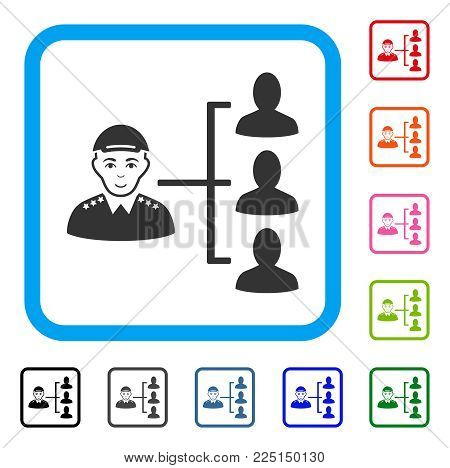 Joy Officer Subordinates vector icon. Person face has glad feeling. Black, gray, green, blue, red, pink color additional versions of officer subordinates symbol in a rounded square. A person in a cap.