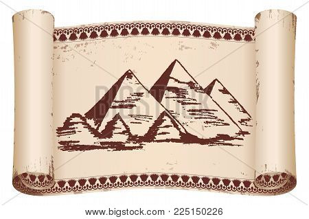 Ancient Egyptian papyrus with national brown ornament and pyramids. Old beige paper with the aging effect isolated on white background.