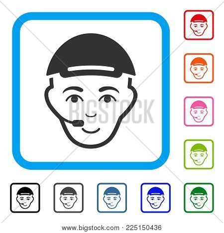 Joyful Operator Head vector icon. Human face has glad mood. Black, gray, green, blue, red, pink color variants of operator head symbol inside a rounded rectangular frame. A dude wearing a cap.