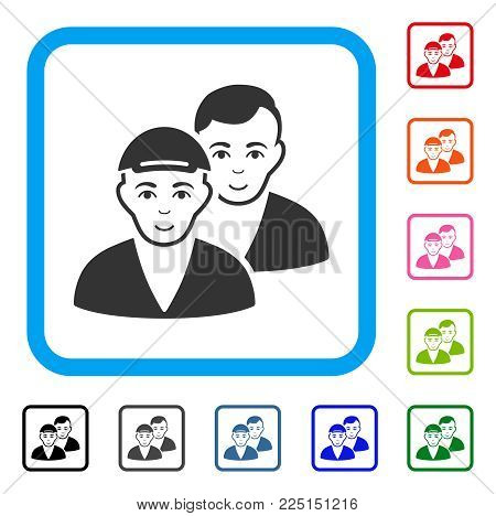 Enjoy Guys vector pictograph. Person face has joy sentiment. Black, gray, green, blue, red, orange color variants of guys symbol in a rounded square. A boy in a cap.
