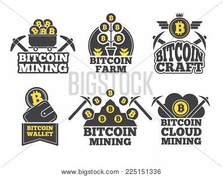 Labels or logos for companies. Monochrome badges for crypto industry. Vector crypto mining label, finance digital bitcoin farm illustration