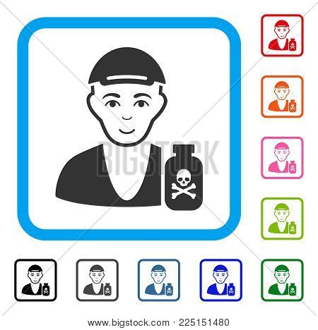 Gladness Toxic Dealer vector pictograph. Person face has smiling feeling. Black, grey, green, blue, red, pink color versions of toxic dealer symbol inside a rounded squared frame. A boy wearing a cap.