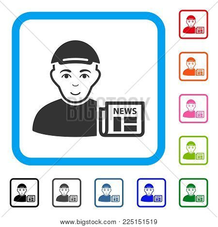 Joyful News Reader vector pictograph. Human face has joyful feeling. Black, grey, green, blue, red, pink color variants of news reader symbol inside a rounded squared frame. A dude dressed with a cap.