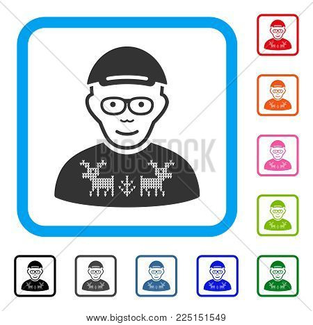Happy Nerd Guy vector pictograph. Person face has gladness feeling. Black, gray, green, blue, red, orange color additional versions of nerd guy symbol in a rounded rectangular frame. A guy with a cap.