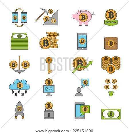 Bitcoin and other symbols of crypto industry. Mining different coins. Vector bitcoin currency finance, coins crypto money mining and cryptocurrency illustration