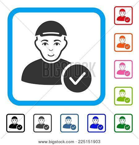 Enjoy User Valid vector pictograph. Human face has happiness mood. Black, gray, green, blue, red, pink color variants of user valid symbol in a rounded rectangular frame. A man wearing a cap.