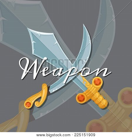 Vector fantasy cartoon style game design medieval crossed magic sword and saber. Blade knife and military saber game illustration