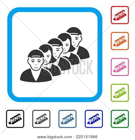 Gladness People Queue vector pictogram. Human face has smiling feeling. Black, gray, green, blue, red, orange color variants of people queue symbol inside a rounded frame. A male person in a cap.