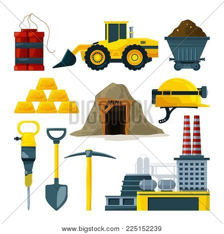 Vector tools for gold mining and minerals. Gold mine, tool and industry heavy underground illustration