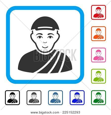 Cheerful Buddhist Monk vector icon. Human face has enjoy feeling. Black, gray, green, blue, red, pink color versions of buddhist monk symbol in a rounded square. A man wearing a cap.