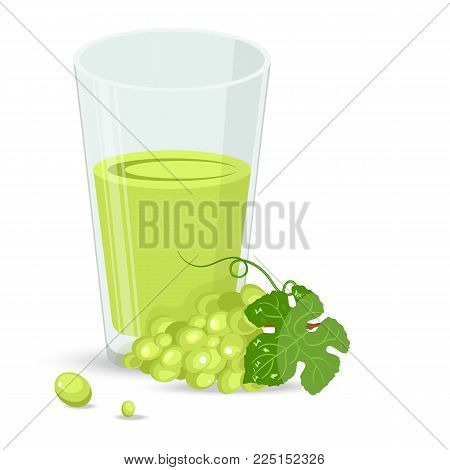Fresh grape and fresh grape juice in a glass. Flat style vector illustration.