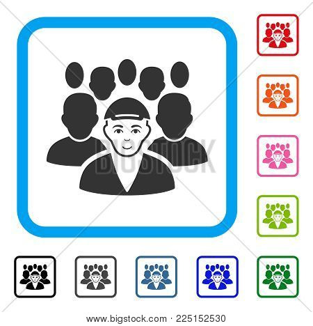 Happiness Staff Leader vector icon. Human face has happy sentiment. Black, grey, green, blue, red, orange color variants of staff leader symbol inside a rounded frame. A person with a cap.