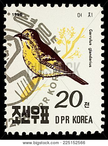 Moscow, Russia - February 03, 2018: A stamp printed in DPRK (North Korea) shows Eurasian Jay (Garrulus glandarius), series