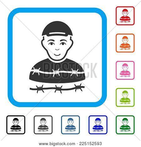 Joyful Camp Prisoner vector pictogram. Human face has enjoy mood. Black, grey, green, blue, red, pink color versions of camp prisoner symbol inside a rounded squared frame.