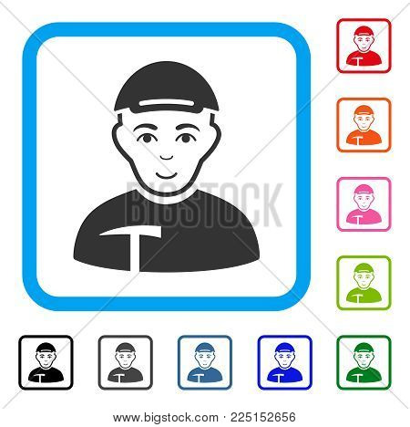 Glad Miner vector icon. Human face has joy expression. Black, grey, green, blue, red, orange color versions of miner symbol inside a rounded rectangle. A male person wearing a cap.