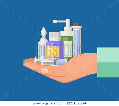 Vector cartoon hand keeping pile of medicines. Medical drug and medicament pills illustration