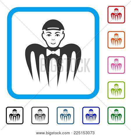 Joyful Spectre Boy vector pictogram. Person face has happy emotions. Black, gray, green, blue, red, orange color versions of spectre boy symbol in a rounded square. A man in a cap.