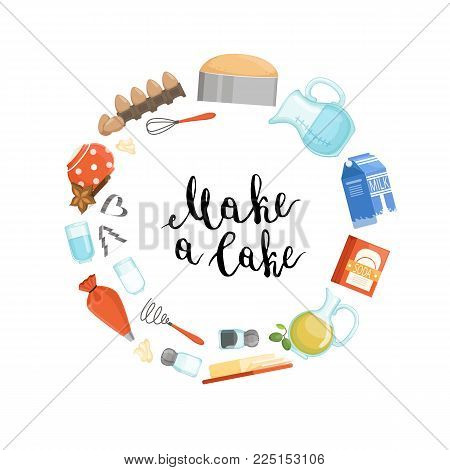 Vector cooking ingridients or groceries elements circle concept with place for text in center. Cooking and grocery food, natural ingredient for cake illustration