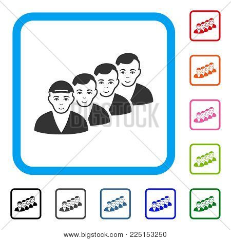 Cheerful People Queue vector icon. Person face has positive expression. Black, gray, green, blue, red, orange color versions of people queue symbol inside a rounded rectangular frame.