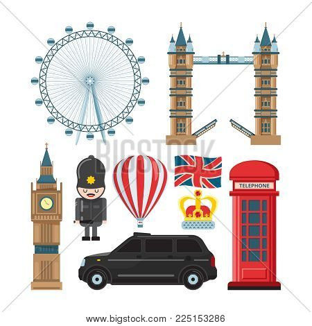 Vector collection set of london landmarks. London travel city, landmark tower and bridge illustration