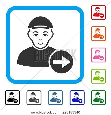 Happiness Following Man vector pictograph. Human face has glad emotion. Black, gray, green, blue, red, pink color versions of following man symbol in a rounded rectangle. A guy dressed with a cap.