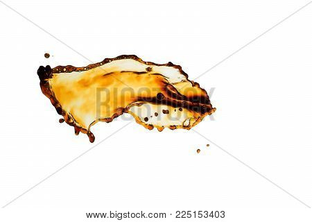 black coffee splash isolated on white background.
