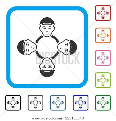Happy User Collaboration Network vector pictogram. Person face has gladness emotions. Black, grey, green, blue, red,