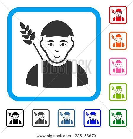 Glad Wheat Farmer vector pictograph. Person face has happiness feeling. Black, grey, green, blue, red, orange color versions of wheat farmer symbol inside a rounded square. A boy in a cap.