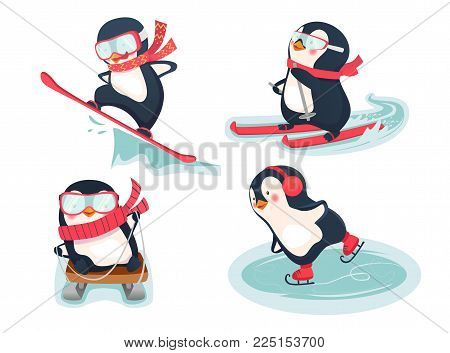 Snowboarder, skier, ice skater and luger vector illustration. Active penguins in winter
