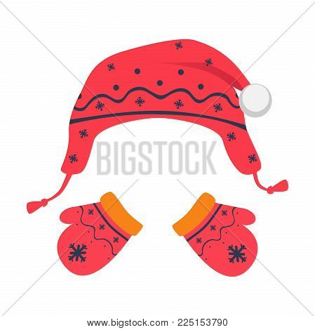 Mittens and hat vector illustration. Knitted hat. Children's mittens