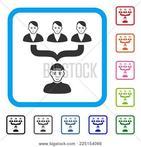 Smiling Citizens Guide vector pictogram. Person face has gladness mood. Black, gray, green, blue, red, orange color versions of citizens guide symbol in a rounded squared frame. A boy with a cap.
