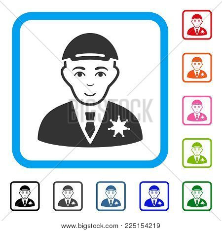 Cheerful Sheriff vector pictograph. Person face has gladness mood. Black, gray, green, blue, red, pink color variants of sheriff symbol inside a rounded rectangular frame. A male person with a cap.