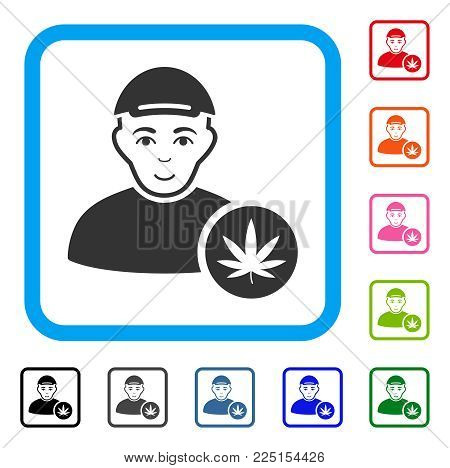 Glad Marihuana Dealer vector pictograph. Human face has smiling emotion. Black, gray, green, blue, red, pink color versions of Marihuana dealer symbol in a rounded frame. A man dressed with a cap.
