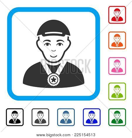 Enjoy Winner vector pictograph. Person face has glad sentiment. Black, grey, green, blue, red, pink color variants of winner symbol in a rounded squared frame. A guy with a cap.