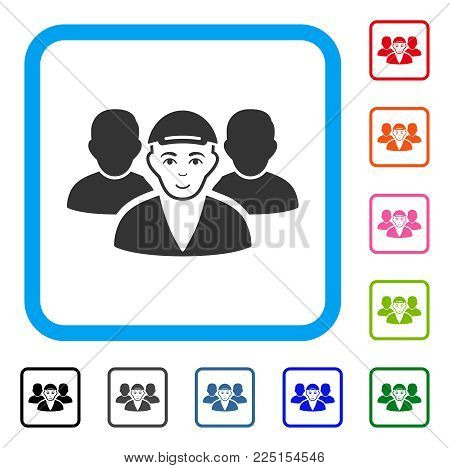 Smiling Guy Friends vector pictogram. Human face has gladness emotions. Black, gray, green, blue, red, pink color versions of guy friends symbol inside a rounded frame. A male person wearing a cap.