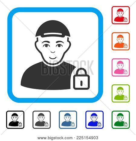 Glad Locked User vector icon. Person face has smiling emotion. Black, gray, green, blue, red, pink color additional versions of locked user symbol inside a rounded rectangle. A man wearing a cap.