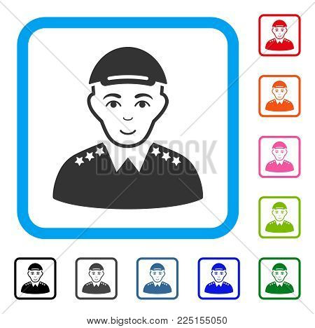 Glad Army Officer vector pictograph. Person face has positive mood. Black, gray, green, blue, red, orange color additional versions of army officer symbol in a rounded frame.