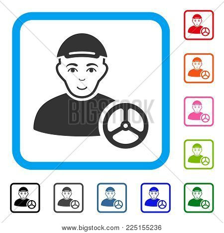 Glad Car Driver vector pictogram. Human face has gladness sentiment. Black, grey, green, blue, red, pink color additional versions of car driver symbol in a rounded frame. A boy wearing a cap.