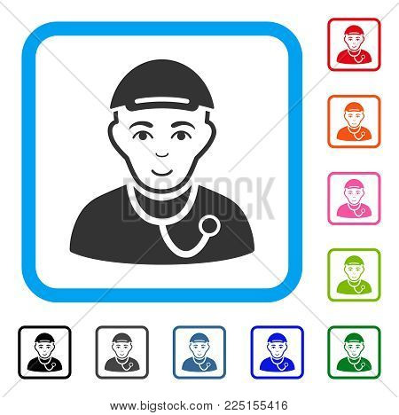 Gladness Medic Guy vector icon. Human face has glad emotion. Black, gray, green, blue, red, pink color additional versions of medic guy symbol inside a rounded rectangular frame. A boy in a cap.