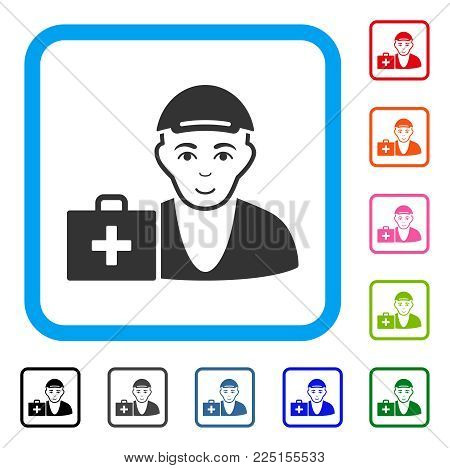 Glad First-Aid Man vector pictogram. Human face has glad feeling. Black, grey, green, blue, red, pink color versions of first-aid man symbol inside a rounded frame. A guy in a cap.