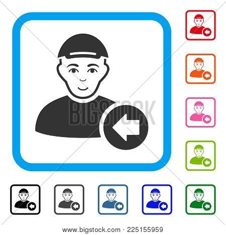 Gladness Previous Man vector pictogram. Human face has happiness sentiment. Black, gray, green, blue, red, pink color variants of previous man symbol in a rounded rectangular frame.