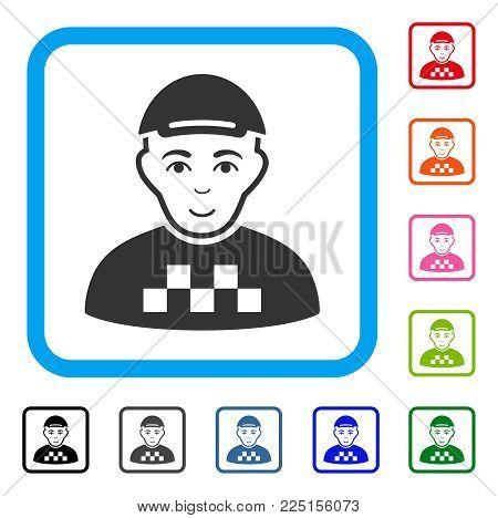 Smiling Taxi Driver vector pictogram. Human face has enjoy emotion. Black, grey, green, blue, red, orange color variants of taxi driver symbol inside a rounded square. A person wearing a cap.