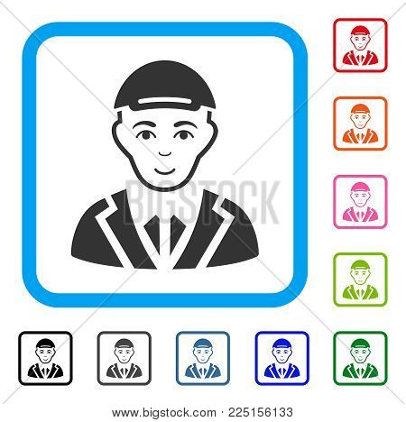 Cheerful Gentleman vector pictogram. Human face has happy feeling. Black, gray, green, blue, red, pink color variants of gentleman symbol inside a rounded frame. A male person with a cap.